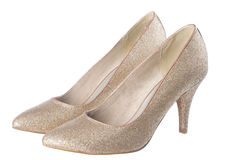 Isolated gold shoes Stock Photo
