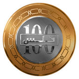 Isolated Gold And Silver One Hundred Fills Illustrated Coin From Royalty Free Stock Images
