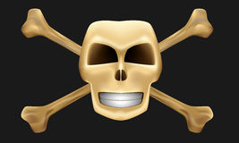 Isolated gold skull and bones Stock Photo