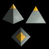 Isolated gold-tipped pyramid Stock Images