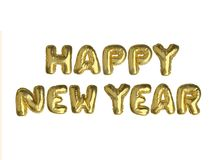 The isolated golden air balloon word HAPPY NEW YEAR. On white background stock illustration
