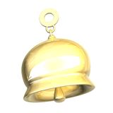 Isolated golden bell xmass (3D). Isolated golden bell (3D made Royalty Free Stock Photos
