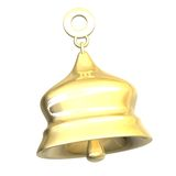 Isolated golden bell xmass (3D) Royalty Free Stock Images