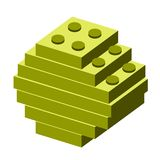 Isolated golden coin. Golden coin built on building blocks, Vector illustration Royalty Free Stock Photography