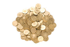 Isolated golden coin stack Royalty Free Stock Photography
