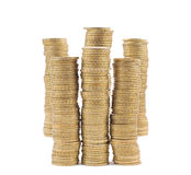 Isolated golden coin stack Royalty Free Stock Photos