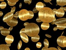 Isolated golden coins Stock Photography