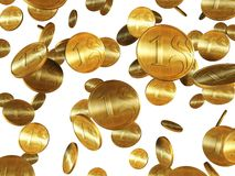 Isolated golden coins Stock Images