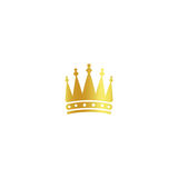 Isolated golden color crown logo on white background, luxury royal sign, jewel vector illustration Royalty Free Stock Photos