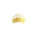 Isolated golden color crown logo on white background, luxury royal sign, jewel vector illustration Stock Photography
