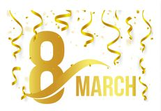 Isolated golden color number 8 with word march icon on white background with falling gold confetti and ribbons, spring. International womens day, greeting logo Stock Photo