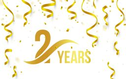 Isolated golden color number 2 with word years icon on white background with falling gold confetti and ribbons, second. Birthday anniversary greeting logo, card royalty free illustration