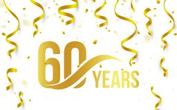 Isolated golden color number 60 with word years icon on white background with falling gold confetti and ribbons, 60th. Birthday anniversary greeting logo, card stock illustration