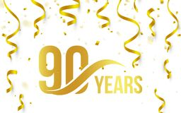 Isolated golden color number 90 with word years icon on white background with falling gold confetti and ribbons, 90th. Birthday anniversary greeting logo, card Royalty Free Stock Photography