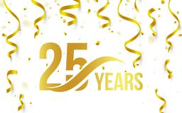 Isolated golden color number 25 with word years icon on white background with falling gold confetti and ribbons, 25th Stock Photos
