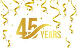 Isolated golden color number 45 with word years icon on white background with falling gold confetti and ribbons, 45th. Birthday anniversary greeting logo, card vector illustration