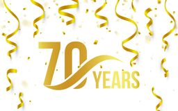 Isolated golden color number 70 with word years icon on white background with falling gold confetti and ribbons, 70th. Birthday anniversary greeting logo, card Stock Image