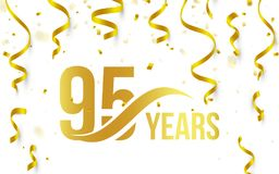 Isolated golden color number 95 with word years icon on white background with falling gold confetti and ribbons, 95th. Birthday anniversary greeting logo, card vector illustration