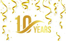 Isolated golden color number 10 with word years icon on white background with falling gold confetti and ribbons, 10th. Birthday anniversary greeting logo, card Vector Illustration