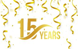Isolated golden color number 15 with word years icon on white background with falling gold confetti and ribbons, 15th. Birthday anniversary greeting logo, card stock illustration