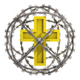 Isolated golden cross in barbed wire sphere Stock Photography