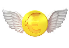 Isolated golden Euro coin with angelic wings transport on white Royalty Free Stock Images