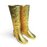Isolated golden Female high boots Royalty Free Stock Image
