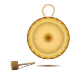 Isolated golden gong. Vector illustration. Realistic golden gong on a white background. Isolated gong and hammer. Traditional musical instrument. Bronze disc Stock Image