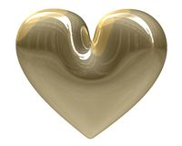 Isolated golden heart xmass (3D) Royalty Free Stock Photo
