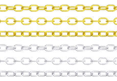 Gold and silver chains isolated. Glossy golden and silver metal chain. Viewing from different angles, isolated and repeatable. PNG with transparent background Stock Photography