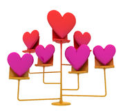 Isolated golden stand with pink red hearts Stock Photography