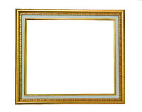 Isolated golden wooden Photo Frame Stock Photo