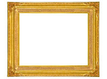 Isolated golden wooden Photo Frame Royalty Free Stock Photos