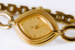 Isolated Golden Wrist Watch Stock Images