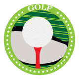 Isolated golf emblem. With a ball and a tee, Vector illustration Royalty Free Stock Photos
