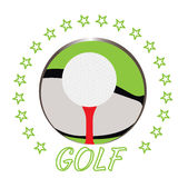 Isolated golf emblem. With a ball and a tee, Vector illustration Stock Image