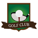 Isolated golf emblem. With a cub and a tee, Vector illustration Stock Image