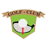 Isolated golf emblem. With a cub and a tee, Vector illustration Stock Photography