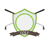 Isolated golf emblem. With a pair of clubs, Vector illustration Stock Photography