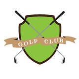 Isolated golf emblem. With a pair of clubs, Vector illustration Stock Photo