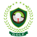Isolated golf emblem. With a ribbon, Vector illustration Stock Photo