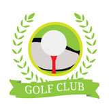 Isolated golf emblem. With a ribbon, Vector illustration Stock Photography