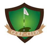 Isolated golf emblem. With a ribbon, Vector illustration Royalty Free Stock Photo