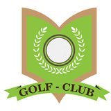 Isolated golf emblem. With a ribbon, Vector illustration Stock Images