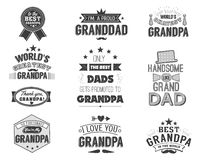 Isolated Grandfathers quotes on the white background. Grandpa congratulation label, badge vector collection. Granddads. Mustache, hat, stars elements for your stock illustration