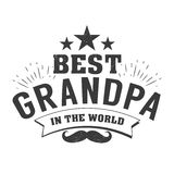 Isolated Grandparents day quotes on the white background. To the best grandpa. Congratulations granddad label, badge Stock Image