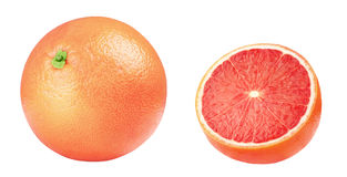 Isolated grapefruit. Pink grapefruits isolated on white background, with clipping path stock photos