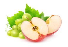Isolated grapes and apples stock photography