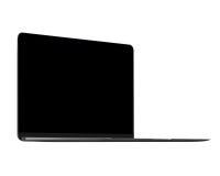 Isolated gray laptop computer mockup. On white background Stock Photos