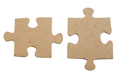 Isolated gray puzzle. Two isolated gray puzzles on white background Royalty Free Stock Photos